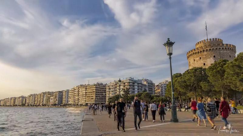 People enjoy their walk in Thessaloniki